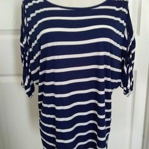 Dressbarn  Blue and White Stripes Top L